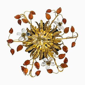 Golden Florentine Flower-Shaped Flush Mount from Banci Firenze, Italy, 1950s