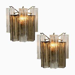 Wandlampen aus Rauchglas & Klarglas von JT Kalmar, 1960er, 2er Set