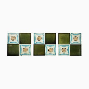 Glazed Art Deco Relief Tiles, 1930s, Set of 9