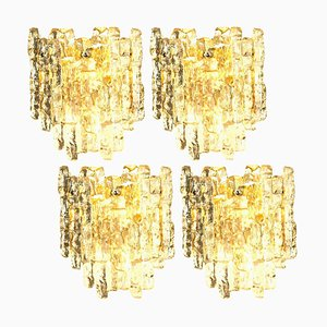 Ice Glass Wall Sconce with 2 Tiers by J.T. Kalmar, Austria, 1970s
