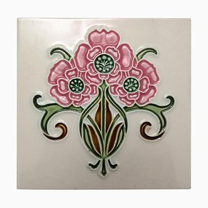 Glazed Art Nouveau Relief Tile from Gilliot, 1920s