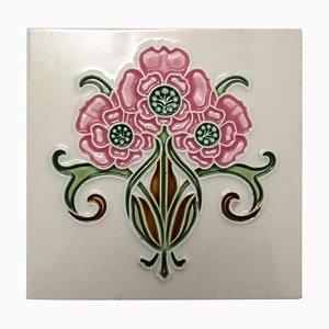 Piastrella in stile Art Nouveau smaltata di Gilliot, anni '20