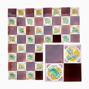 115 Art Deco Tiles from S.A. Faïenceries De Bouffioulx, 1930s, Set of 110