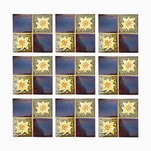 Glazed Art Deco Relief Tiles by S.A. Des Pavilions, 1930s, Set of 9