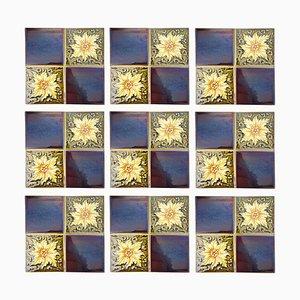 Piastrelle Art Déco smaltate di SA Des Pavilions, anni '30, set di 9