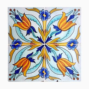 Antique Ceramic Tile from Devres, France, 1910s