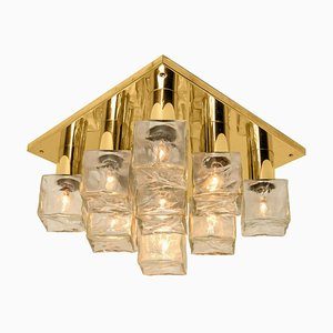Flush Mount or Sconce in Brass & Glass from Kalmar, 1970s
