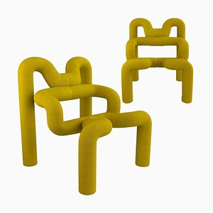Yellow Lounge Chairs by Terje Ekstrom, Norway, 1980s, Set of 2