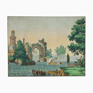 Paesaggio con figure, tempera su tela