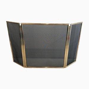 French Brass Folding Fireplace Screen, 1970s