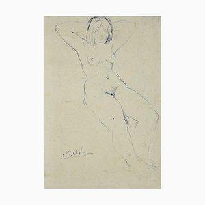 Angelo Sabbatani, Female Nude, Pen, Mid,20th-Century