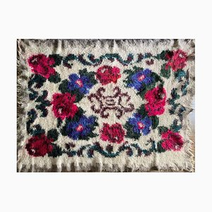 Tappeto floreale fatto a mano di lana, Romania