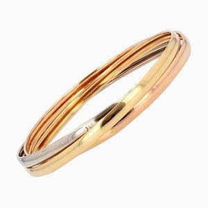 Modern 18 Karat 3-Color Gold 3 Bangles Bracelet