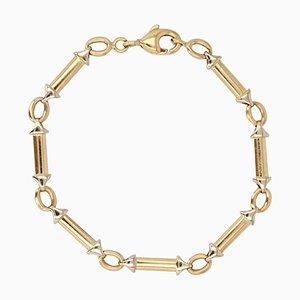 Modern 18 Karat 2-Color Gold Links Gourmette Bracelet