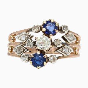 19th Century Sapphire Diamond 18 Karat Rose Gold 3 Band Ring