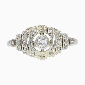 Französischer Art Deco 18 Karat Ring in Weißgold mit Diamanten, 1930er