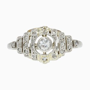 French Art Deco Diamonds 18 Karat White Gold Ring, 1930s