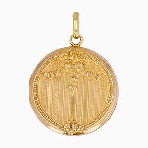 20th Century French 18 Karat Rose Gold Medallion Pendant
