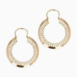 French 18 Karat Yellow Gold Openwork Hoop Earrings, 1960s