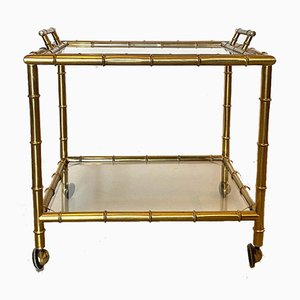 Trolley Bar with Removable Tray in Brass & Faux Bamboo, 1970s