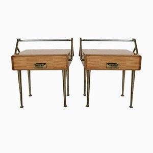 Bedside Tables in Maple and Brass by Silvio Cavatorta, 1950s, Set of 2