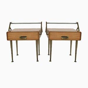 Comodini in acero e ottone di Silvio Cavatorta, anni '50, set di 2