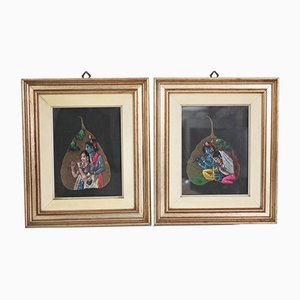 Indian Painted Leaves in Frames, 1970s, Set of 2