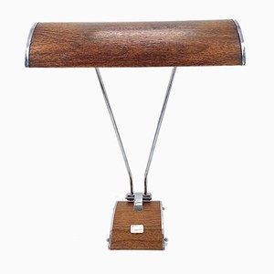 Lampe de Bureau Art Déco Style Streamline en Bois et Finition en Chrome de Jumo, 1930s