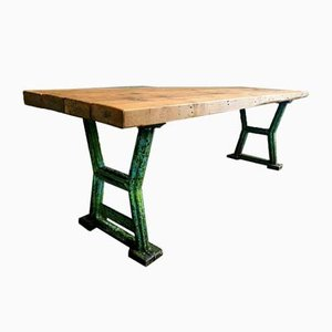 Industrial Dining Table with Cast Iron Legs & Beams