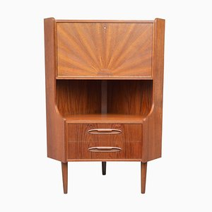Small Mid-Century Danish Teak Corner Cabinet with Veneered Sunburst Pattern, 1960s