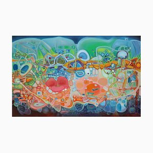 Chinese Contemporary Art, Abstract, Green House by Liu Guoyi