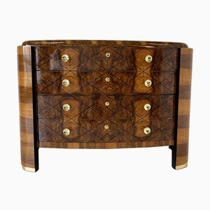 Italian Art Deco Walnut, Gold Leaf and Brass Chest of Drawers, 1930s