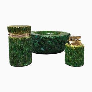 Green Alabaster Smoking Set, 1960s, Set of 3