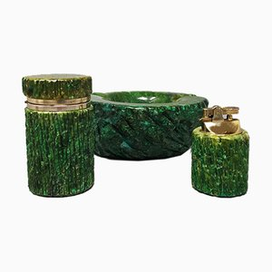 Rauchbox aus grünem Alabaster, 1960er, 3er Set