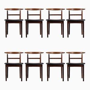 Modell 465 Stühle aus Palisander & schwarzem Leder von Helge Sibast für Sibast, 8er Set