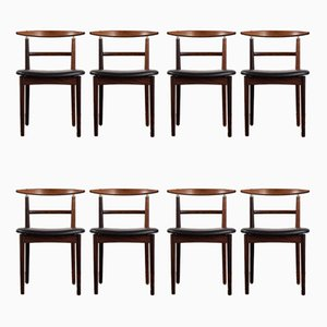 Rosewood and Black Leather Model 465 Chairs by Helge Sibast for Sibast, Set of 8