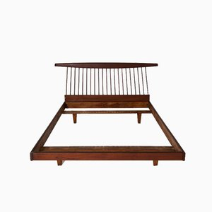 George Nakashima Style Wooden Bed, 1950s