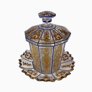 Vaso in cristallo color oro ambrato con miniatura Biedermeier