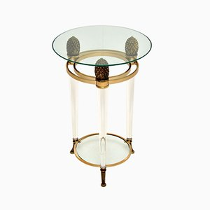 Italian Vintage Glass & Acrylic Side Table