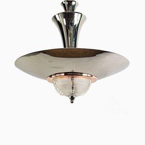 Vintage Art Deco Chrome & Copper Ceiling Lamp