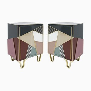 Italian Mid-Century Style Wood, Colored Glass & Brass Sideboards, Set of 2