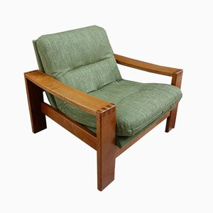 Wide Teak Armchair with Green Upholstery, 1970s