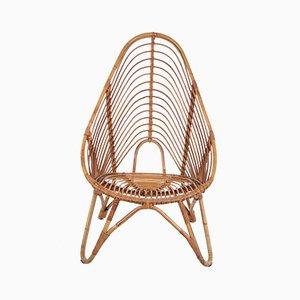 Niederländischer Vintage Sessel aus Rattan von Rohé Noordwolde