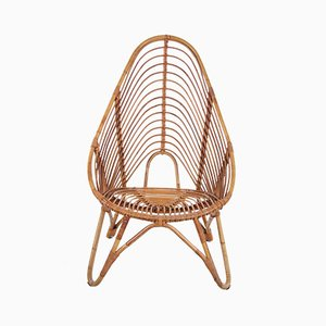 Vintage Dutch Rattan Lounge Chair from Rohé Noordwolde