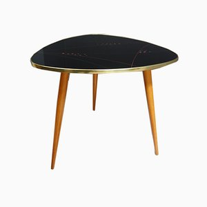 Black Glass Coffee Table in Plectrum Shape, 1950s