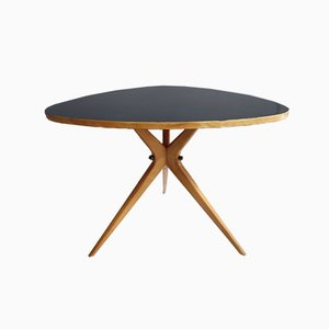 Tavolino da caffè Triangle nero con gambe a ragno, anni '60