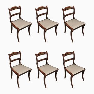 Regency Inlaid Brass Dining Chairs, Set of 6