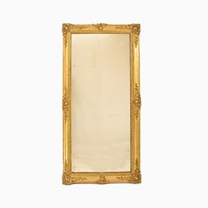 Antique Rectangular Mercury Mirror in Gold Leaf Frame, 19th Century