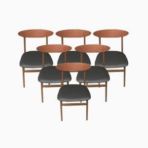 Dänische Teak & Nappa Esszimmerstühle von Farstrup Møbler, 1960er, 6er Set