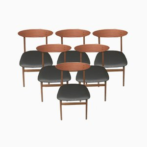 Danish Teak & Nappa Dining Chairs from Farstrup Møbler, 1960s, Set of 6